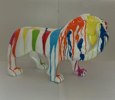 Sculpture Lion Trash Blanc L-100cm