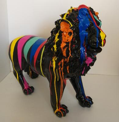 Sculpture Lion design Trash Noir L-100cm