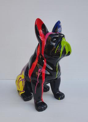Sculpture Bulldog Français Assis en Résine Trash - H 45cm