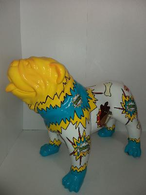 Sculpture Bulldog en résine cartoon ULTRA BRILLANT L-90cm