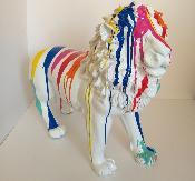 Sculpture Lion design Trash Blanc L-100cm