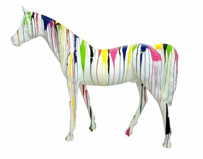 Sculpture Cheval en Résine Trash Blanc L-220cm