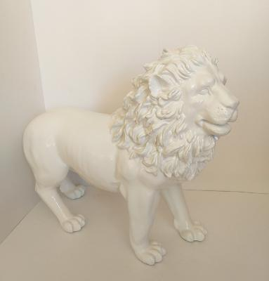 Sculpture Lion Design Blanc L-100cm