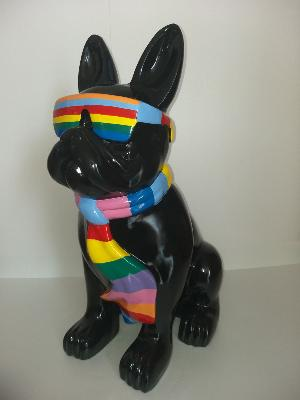 Statue bulldog lunette et cravate coloré XL H-80cm