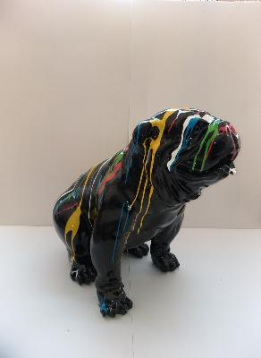 Sculpture Bulldog Anglais Assis Trash Noir H-75cm
