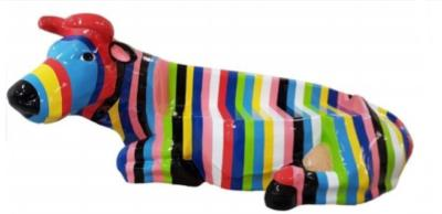 Sculpture BANC Vache Multicolore L-225cm