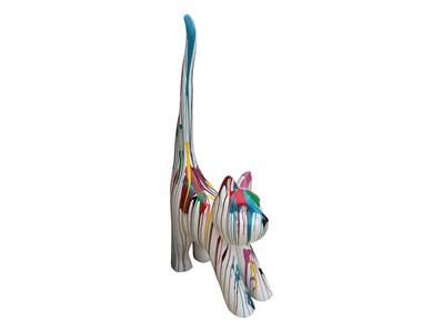 Sculpture chat en resine coloré XXL  H- 205cm